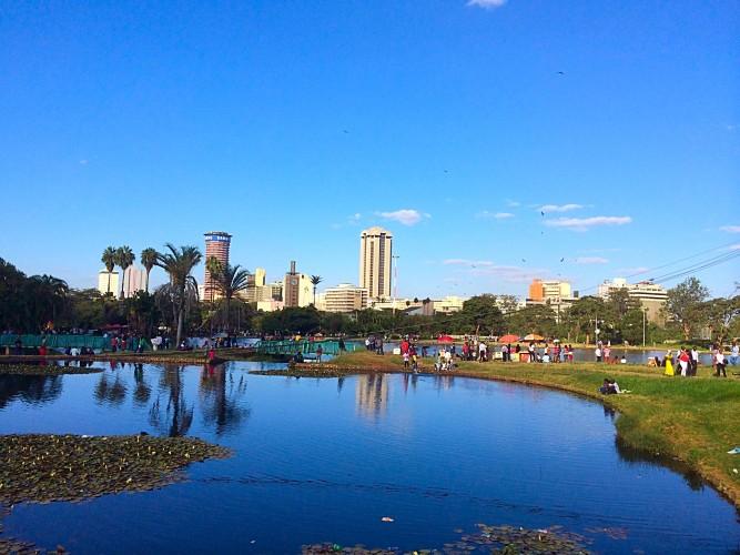 Pohľad na centrum Nairobi z Uhuru parku