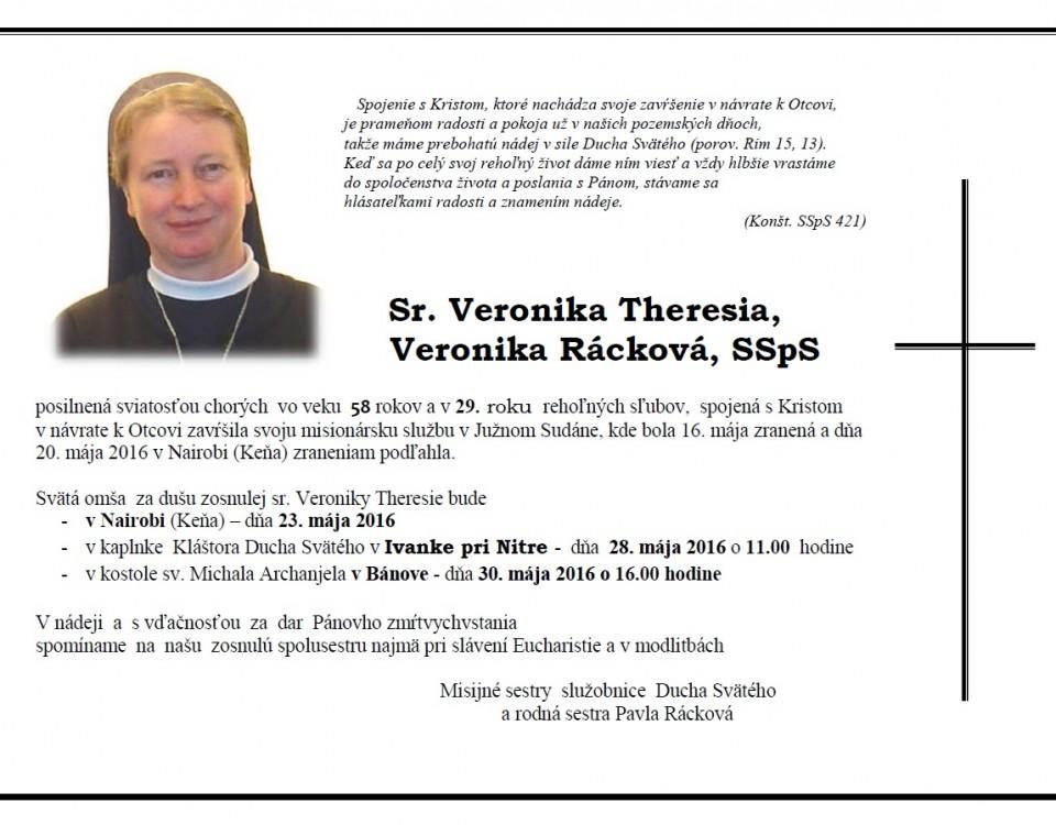 Veronika Terézia Rácková - Parte